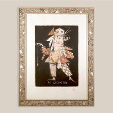 """Cornice """"laterizi"""" in legno e collage (all'interno serigrafia di Paolo Fresu)"""