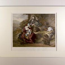 Sacra Famiglia acquerellata a mano del sec XIX.