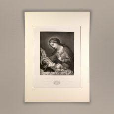Incisione Madonna con Bambino Gesù del XIX sec.