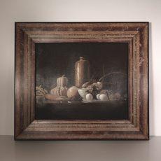 """Cornice decorata ed anticata a mano (all'interno """"natura morta"""" dipinto a olio su tela)"""